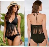 الصيف الشرابة البيكينيات ل مثير المرأة هامش ملابس 2 قطعة ملابس السباحة الرسن بيكيني دعوى سوداء m l xl sw8425