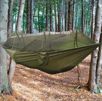 Nova Quatro Cores Ao Ar Livre Portátil de Alta Resistência Parachute Tecido Camping Hammock Pendurado Cama Com Mosquiteiro