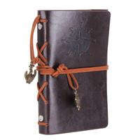 Couro Caderno Diário de 5 Polegadas Retro Espiral Notebook Caderno Recarregável Diário Sketchbook para Meninas e Meninos Café