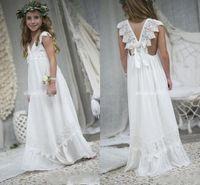 2019 neue Ankunfts-Boho Blumenmädchenkleider für Hochzeiten Günstige V-Ausschnitt Chiffon Spitze Kind Kommunion formales Brautkleid nach Maß