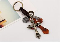 120pcs Retro Punk Style Leather Alloy Christian Cross Keycha...