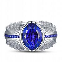 Victoria Wieck Marca mano mens gioielli turchese 4ct Sapphire Cz Diamante Argento 925 Wedding Band Ring regalo con la scatola