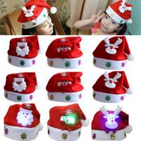 Led Crianças Chapéu De Natal Xmas Adulto Mini Red Santa Claus Veados Decoração Do Partido Bonés de Natal Decorações de Natal Presente WX9-128