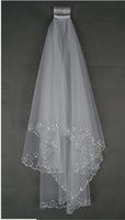 Stunning Beads Two- Layer Short Bridal Veils With Sequins Edg...