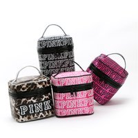Love Pink Cosmetic Makeup Bag Train Case Classic Portable Do...