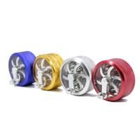 네 가지 색상 63mm의 금속 스파이스 허브 크러셔 알루미늄 합금 두 레이어 크랭크 핸드 그라인더 무료 배송