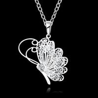 أزياء مجوهرات الزفاف 925 الفضة الاسترليني الطلاء القلائد مكعب زركونيا سحر فراشة المعلقات القلائد للنساء