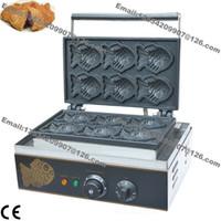 Livraison Gratuite Utilisation Commerciale Non-bâton 110v 220v Électrique 6pcs Japonais Taiyaki Poissons Gaufrier Maker Fer Baker Machine Plate