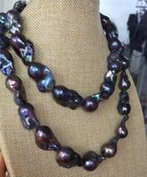 Schnelles freies Verschiffen reale feine Perlen-Schmucksachen herrliche 25-30MM TAHITIAN PFAU-BLAUE PERLEN-HALSKETTE 38INCH 14K