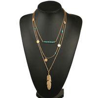 حار بيع النساء قلادة ريشة بيان القلائد المعلقات خمر مجوهرات متعدد الطبقات قلادة طويلة النساء NL579