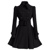 Vente en gros-hiver manteau femmes europe boucle de ceinture col rabattu trench-coat femme manteau à double boutonnage casual manches longues robe manteaux XXL
