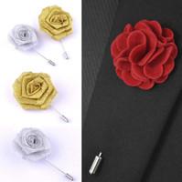 Sıcak Satış Şerit Yaka Çiçek Gül El yapımı boutonniere Broş Pin Erkek Aksesuar Broş iğneler Takı Toptan Ücretsiz Kargo 0403WH