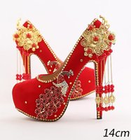 Red bride shoes high with wedding shoe waterproof single dia...