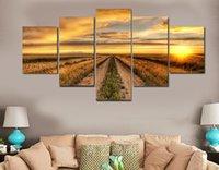5 Panel Country Road à Sunset Farm Peinture Toile Imprimer Chambre Décor Picture Picture Toile Peinture