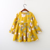 New Autunm Girls Floral Cotton Dress Cute Baby Children Yell...