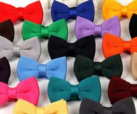 Ücretsiz Kargo Erkekler Boyun Örme Papyon Papyon Katı Renk Önceden Bağlı Ayarlanabilir Smokin Bow Kravatlar 25 Renkler