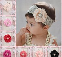 2016 Infant Flower Pearl Headbands Girl Lace Headwear Kids B...