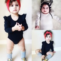 Newborn baby girl cotton romper solid color ruffle long slee...