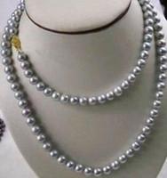 9-10 mm por mayor collar de perlas de Tahití Gris 38 pulgadas oro 14k Broche