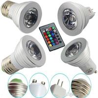 LED RGB لمبة 3W 16 لون تغيير 3W أضواء LED الأضواء RGB LED ضوء لمبة مصباح E27 GU10 E14 GU5.3 مع 24 مفتاح التحكم عن بعد 85-265V