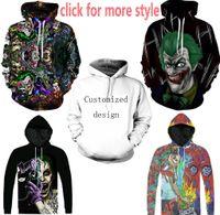 Nueva Moda Parejas Hombres Mujeres Unisex Joker Suicide Squad Payaso 3D Imprimir Sudaderas con capucha Sudadera Chaqueta Pullover Top S-6XL TT140