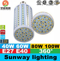 E40 B22 E27 Led milho luzes SMD 5730 alta potência de 40W 50W 60W 80W Lâmpadas LED 360 Ângulo AC 85-265V ce ul