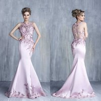 Tony Chaaya Jewel Neck Evening Dresses Sleeveless Lace Appli...