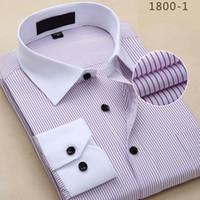الجملة-الرجال قميص 2016 مخطط قميص الرجال العلامة التجارية الأعمال عارضة طويلة الأكمام بدوره أسفل الياقة مخطط الرجال اللباس قميص الرجال الملابس If2011