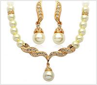 Дешевые свадебные ювелирные наборы жемчуг кулон ожерелье серьги невесты ювелирные наборы свадебные аксессуары для женщин партии