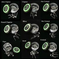 Düz bükülmüş tel Sigortalı clapton bobinleri Hive premade wrap teller Alien Mix twisted Quad Tiger 9 Çeşitleri RDA Buharlaştırıcı için 10 Çeşit / kutu