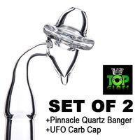 Set aus 2-Sommet Pinnacle Quarz Banger Nagel mit klarem Gelenk und 1 Stück Universal UFO Quarz Carb Cap für Dab-Ölbohrinseln
