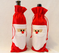 Red Wine Bottle Cover Bags Christmas Dinner Table Decoration...