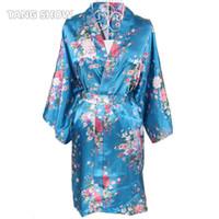Venda por atacado - Nova impressão Floral cetim Robe Sexy Lounge roupão de banho das mulheres Camisola Vintage Kimono Yukata vestido de dama de honra do casamento