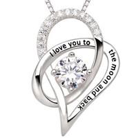 """New Chain Chain Link Jewelry For Woman Men Argento """"Ti amo alla luna e ritorno"""" Love Heart Pendant Necklace Christmas Gift Freeshipping"""