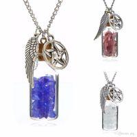 Clásico Hombres Mujeres Cadena Gargantilla Collares Shellhard Angel Wing Glass Deseos Botella Colgante Neckaces Joyería de Moda Accesorio