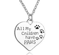 جديد الأزياء الحيوان مجوهرات جميع أطفالي لديهم الكفوف القلب الحيوان الكلاب قلادة النساء قلادة الفضة تصفيح حار بيع