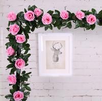 2.1 M Haute Qualité Artificielle Rose Guirlande Soie Fleur Vignes Lierre Maison Mariage Jardin Décoration