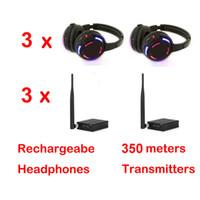 Casque professionnel silencieux Disco avec 3 canaux Système sans fil à prix réduit pour iPod MP3 DJ Musique (3 récepteurs + 3 émetteurs)
