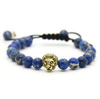Розничная Мужские браслеты 8 мм каменные бусины золото посеребренные Лев голову плетение браслеты