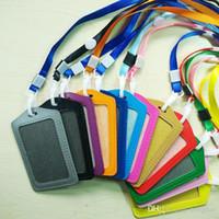 PU Leder Kreditkarten ID Fenster Halter w / Neck Strap Halskette Lanyard Großhandel H210475