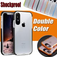 TPU bicolore morbido + PC antiurto in gomma trasparente trasparente Cover per iPhone XS Max XR X 8 7 6 6S Plus Samsung Galaxy S9 S8