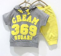 free shipping Baby 369 Suit girls boys cream Short sleeve Ho...