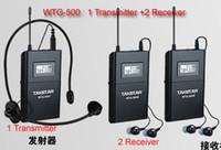 1 unids Transmisor + Receptor 2 unids de Calidad Superior Takstar WTG-500 UHF PLL inalámbrico sistema de guía de viaje dispositivo de voz auriculares de enseñanza por aibierte