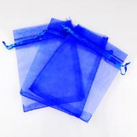 """Королевский синий органзы шнурок сумки ювелирные изделия партии малых свадьбы пользу подарочные пакеты упаковка подарок конфеты обернуть квадрат 5 см X7 см 2"""" X2.75 """" 100pcs"""