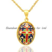 Collar de mujer con cadena de esmalte de estilo ruso multicolor de cristal cruzado Faberge diseño del huevo colgante