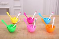 4 1 DIY Yüz Güzellik yılında Bowl Kozmetik Aracı For Women Çubuk Fırça Set ile Spong Fırça Karıştırma Maske