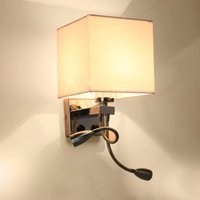 Modern LED Wall Lamp Fabric Lampshade Bedroom Bedside Sconce...