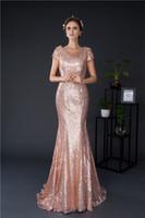 Rose Gold Sequin Sirena Vestidos de dama de honor Manga larga y económica Vestido de invitado de boda largo En stock Vestido de damas de honor de fotos reales de menos de 50