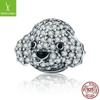 Nuovo design in argento sterling 925 Dazzling Poodle Lovely Teddy Bead Fit originale Pandora Charm Bracelet Jewelry Gift CQC152