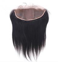 ブラジルのシルクベースレース前頭13x4バージン人間の髪の絹のまっすぐなシルクトップレースの赤ちゃんの毛の漂白結び目が付いている正面閉鎖部分
